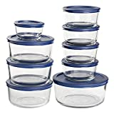 Anchor Hocking 18 Piece Round Glass Food Storage Navy BPA-SnugFit Lids, Space Saving Meal Prep...