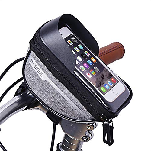 Qivor Bolsa de Bicicleta Caja de Manillar de Cabeza de Cabeza de Bicicleta Poliéster Impermeable Pantalla táctil Pantalla táctil Portífago Caja de Montaje de Ciclismo para 6.4in (Color : 03)
