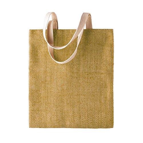 KiMood - Bolsa de yute con diseño para mujer (Paquete de 2) (Talla Única) (Natural verde militar)