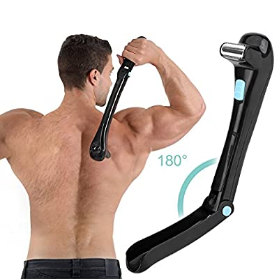 Electric back shaver, Do-It-Yourself, wireless, foldable, body hair trimmer.