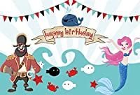 LFEEY 10x8フィート キッズ 誕生日背景 神話の女の子 誕生パーティー バナー 海底 海洋生物 海賊とマーメイドテーマ 写真撮影背景 布フォトスタジオ小道具