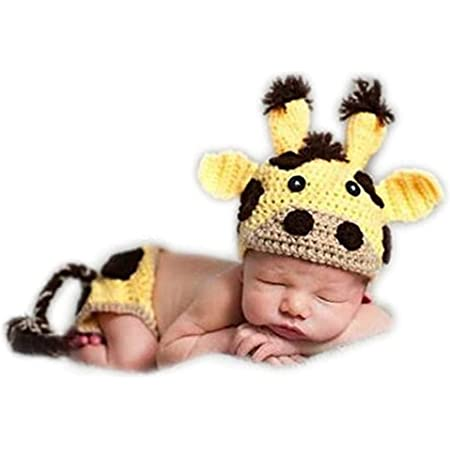 Newborn Baby Photography Shoot Props Boy Outfits Crochet Knit Cattle Cow Hat Shorts Photo Props