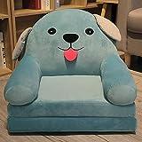 Sofá infantil de dibujos animados, sillón para niños, niños sofá cama y niño regalo de cumpleaños juguete perezoso tapizado lindo bebé pequeño sofá asiento niño silla lavable-amarillo,Azul,3 floors