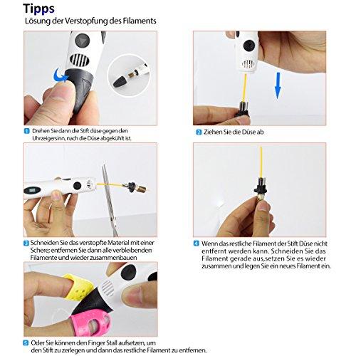 3D Stift Set für Kinder mit PLA Filament 12 Farben -【Neueste Version 2018】3D Stifte mit PLA Farben 120 Fuß und 250 Schablonen eBook, Dikale 07A 3D Pen als kreatives Geschenk für Erwachsene, Bastler zu kritzeleien, basteln, malen und 3D drücken - 8