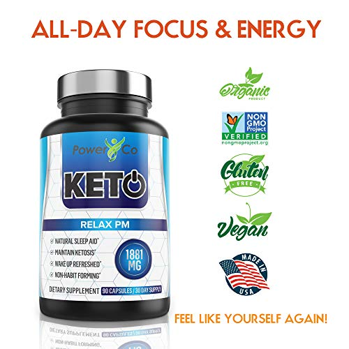 PowerCo Relax PM Deep Sleep Formula - Adult Sleep Aid & Keto Diet Pills in One - Promotes Deep REM Sleeping While Promoting Nighttime Ketosis - 90 Capsules 4