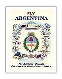 Moscas Después de Argentina–Pan American de panagra–Pan American World Airways Sistema–Vieja Sociedad de vuelo de Constantin Póster De Viaje alajalov c.1951–Impresión (, 51cm x 66cm