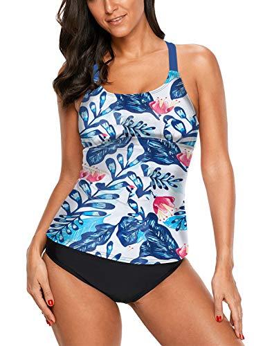 Aleumdr Womens Sexy Striped Printed Strappy Racerback Tankini Swim Top No Bottom Swimwear White Medium