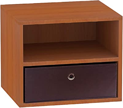 Klaxon Pansy Side Table/Wooden Two Drawer Storage Cabinet with One Fabric Box - Cherry & Brown