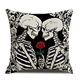 QIQIANY Skull Couple Pillow Cover 18x18 Inch Square Linen Skull Lovers Skeletons Pillow Case Home Art Decor Skull Pillow Cushion Cover for Sofa Kitchen Bedroom