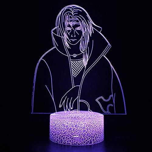 Lámpara de ilusión 3D, lámpara de noche de Naruto con ilusión óptica de 16 colores que cambia con control remoto para niños niñas niños