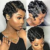 Short Pixie Cut Wigs For Black Women Mommy Wig Brazilian Human Hair Wigs Finger Ocean Wave Wig Remy Human Hair Wig Cheap Wig For Party(Black 1B#)