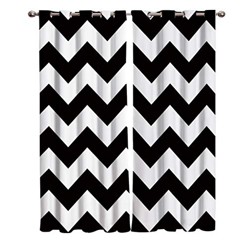 """T&H Home Black White Chevron Curtains, Zig Zag Pattern Window Curtain, 2 Panel Curtains for Sliding Glass Door Bedroom Living Room, 80"""" W by 84"""" L"""