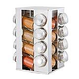 Estantería para Especias - Especiero Giratorio Cocina con 16 Botes para Especias Originales Acero Inoxidable Soportes para Botes de Especias, Organizador Multiuso para Especias