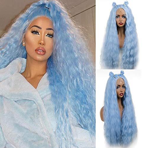 Royalvirgin Kant Voor Synthetische Pruiken Lange Golvend Mode Munt Blauw Haar Krullend Pruik Half Hand Gebonden Hittebestendige Licht Blauw Haar voor Vrouwen Dagelijks Gebruik