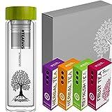 amapodo - Juego de regalo de té - Botella - Regalos para hombres - Juego de té - Caja de regalo grande - Té de hierbas y frutas [4 tipos de té = 480 g] Regalo de cumpleaños para mujeres.