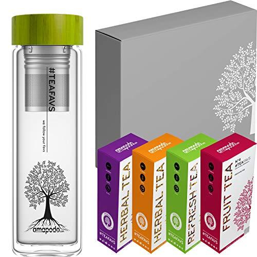 amapodo - Juego de regalo de té - Botella - Regalos para hombres - Juego de té - Caja de regalo grande - Té de hierbas y frutas [4 tipos de té = 480 g] Regalo de cumpleaños para mujeres