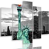 Tableau déco Toile 5 parties New York noir et blanc 200x100 cm