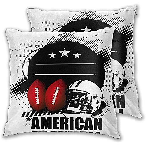 Butlerame Throw Pillow Kissenbezug 2er-Set, American Football Theme Grunge suchen Retro-Komposition mit Bällen, quadratischer Akzent Kissenbezug 18x18 Zoll