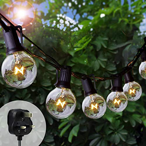 Bteng Outdoor String Lights Mains Powered, 25+6FT G40 Garden Festoon Lighting Waterproof Bulbs Lights for Indoor & Outdoor Décor Patio Party Wedding Christmas Tree Decoration (25+5 Bulbs)