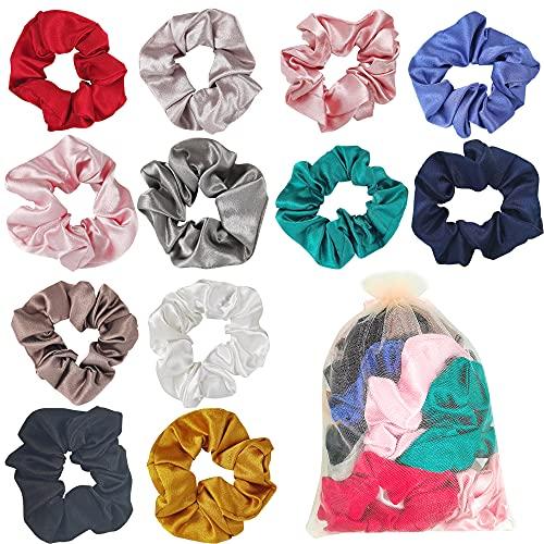 Scrunchies de Satén para Cabello 12PCS Scrunchies de Pelo de satin Glossy Hair Scrunchies Lazos Elásticos de Satén Ponytail Holder Headbands- Gomas del Pelo para Mujeres Niñas