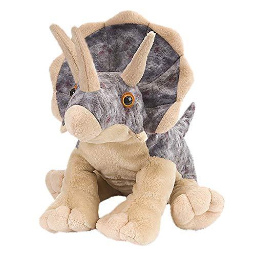 cinsey Niedlich 3D-Triceratops 22 cm – Kuscheltier Cartoon-Triceratops mit Groß Augen – Flauschiges Plüschtier mit Groß Glitzeraugen – Schmusetier für Kuscheltierliebhaber (Braun)