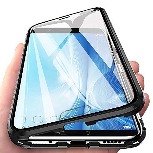 Eabhulie Huawei Honor View 10 Hülle, Vollbildabdeckung Gehärtetem Glas mit Magnetischer Adsorptionskasten Metall Rahmen 360 Grad Komplett Schutzhülle für Huawei Honor View 10 Schwarz
