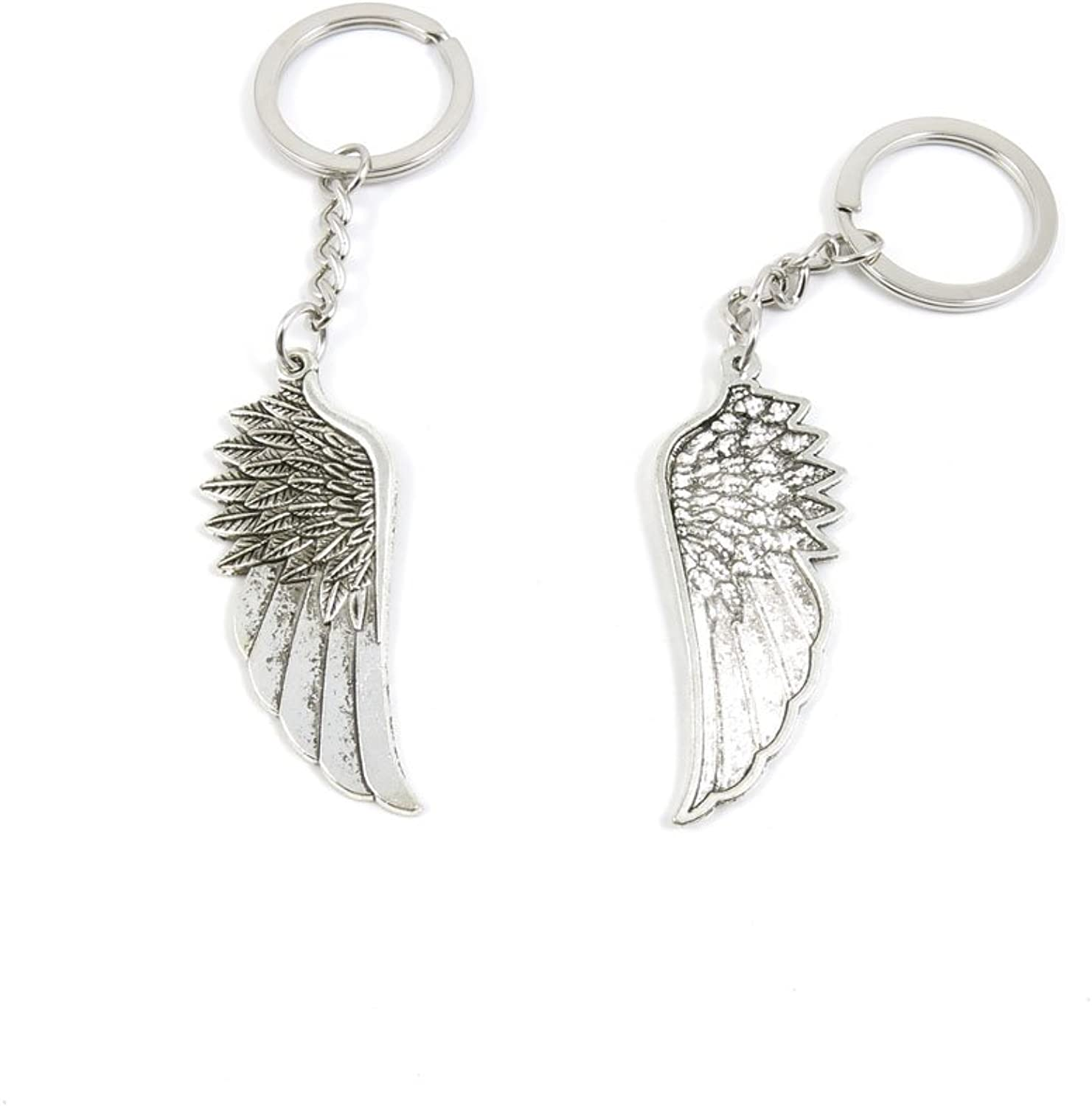 100 Pieces Keychain Keyring Door Car Key Chain Ring Tag Charms Bulk Supply Jewelry Making Clasp Findings I9VA1H Angel Wings