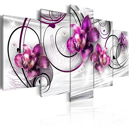 murando Acrylglasbild Blumen 200x100 cm 5 Teilig Wandbild auf Acryl Glas Bilder Kunstdruck Moderne Wanddekoration - Orchidee Perlen Silber Skizze Ornament b-C-0102-k-m