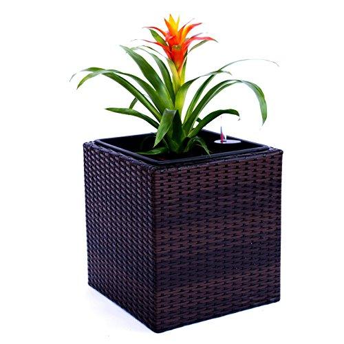 Elegant Einrichten Pflanzkübel Polyrattan quadratisch 50x50x50cm Coffee braun