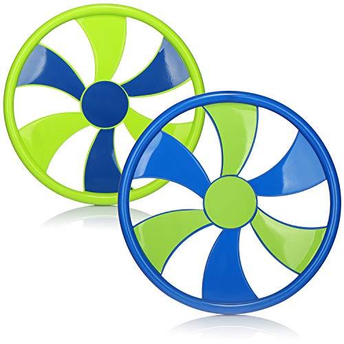 com-four® 2X Frisbee para niños y Adultos - Disco de Lanzamiento - Disco de Frisbee para Jugar - 30 cm Disco Volador [la selección varía] (2 Piezas - Verde/Azul)