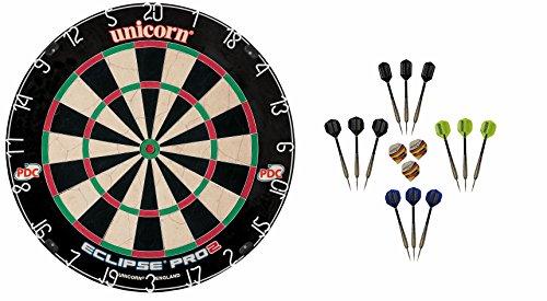 Unicorn Dart Board Eclipse Pro2 Bristle Board + 6 McDart Steeldarts (6 Steeldarts)