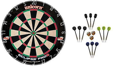 Unicorn Dart Board Eclipse Pro2 Bristle Board + 6 McDart Steeldarts (6 Steeldarts)