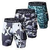 ZENGVEE Lot de 3 Shorts de Compression pour Hommes Collants de Sport Secs et Frais sous-Shorts de Sport Shorts de Couche de Base de Course avec Poches pour téléphone(1012-Camo Gray-XL)