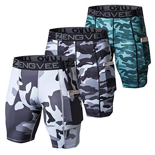 ZENGVEE Paquete De 3 Pantalones Cortos De Compresión para Hombre con Bolsillo para Teléfono Celular, Adecuados para Correr, Entrenar, Hacer Ejercicio, Gimnasio(1011-Camo Gray-XL)