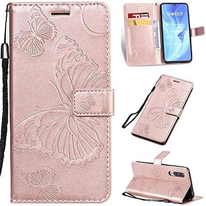 GHC Fundas y Covers para Xiaomi MI 9 Lite, Diseño Floral Flor de Mariposa de la PU de la Carpeta del Soporte del Cuero con Correa para Xiaomi MI 9 Lite (Color : Rose Gold)