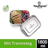 YouPlanet Premium Lunchbox 1800ml aus Edelstahl mit Trennwand - BPA Frei - Bento Box für Kinder und Erwachsene - Brotdose, Brotbüchse, Vesperdose - inkl. GRATIS Besteck