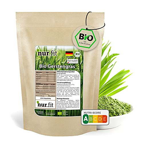 nur.fit by Nurafit BIO Gerstengras Pulver 250g - rein natürliches Pulver aus Gerstengras ohne Zusatzstoffe aus deutschem Anbau – Bio zertifiziertes Green-Smoothie-Pulver mit Vitaminen & Mineralstoffen