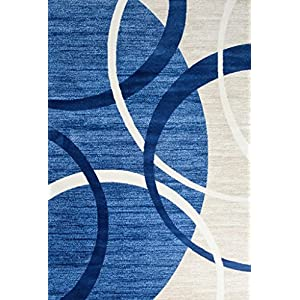 Persian-Rugs 3895 Blue Swirls 5'2 x 7'2 Modern Abstract Area Rug Carpet (3895 Blue 5×7)
