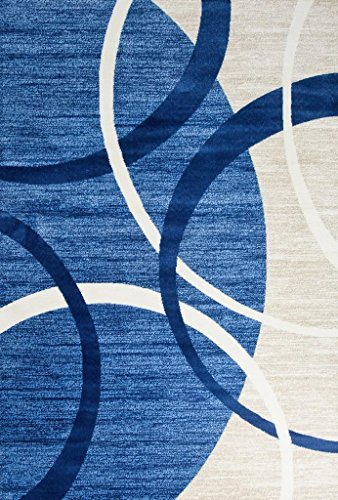 Persian-Rugs 3895 Blue Swirls 5'2 x 7'2 Modern Abstract Area Rug Carpet