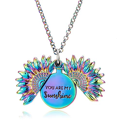 RMOJUL You are My Sunshine Necklace - Unique Sunflower Locket Pendant - Gift for Mom, Sister, Best Friend, and Girlfriend, Ideal for Birthdays, Christmas Day, Valentine's Day (Colorful)