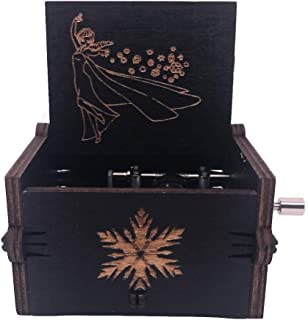 Tiny Music Box 18 Note Hand Crank Musical Box Carved Wooden,Play Let it Go (Black)