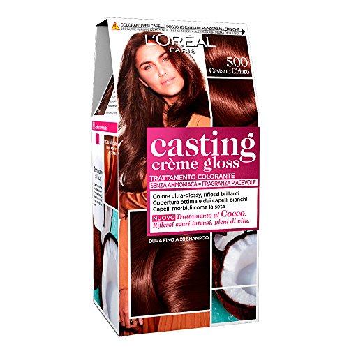 L'Oréal Paris Tinta Capelli Casting Creme Gloss, senza Ammoniaca per una Fragranza Piacevole, 500 Castano Chiaro, Confezione da 1