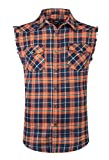 NUTEXROL Men's Casual Flannel Plaid Shirt Sleeveless Cotton Plus Size Vest Black&Orange 3XL
