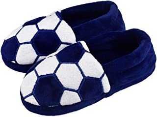 Tirzrro Little Kids Big Boys Warm Slippers with Soft Memory Foam Slip-on Indoor Football Slippers