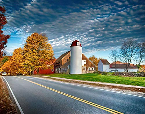 MQPPE Landscape 5D DIY Diamond Painting Kits, Traditional New England Carlisle Ma Red Barn Massachusetts Carlisle Full Drill Painting Arts Set Craft Canvas for Home Wall Decor Adults Kids, 16' x 20'