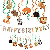 Easy Joy Decoration Anniversaire Enfant Animaux Foret Kit Renard Herisson Tourbillon Suspendu Deco + Happy Birthday Animal