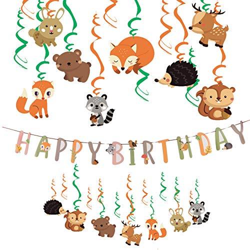 Easy Joy Tiere Geburtstag Dekoration Geburtstagsgirlande Folie Spiralen Wald Party Kindergeburtstag Deko