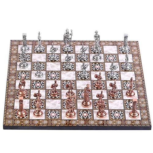 LINMAN LMH Historische antike Kupfer Rom Figuren Metallschach Set, handgemachte Stücke, Mosaik Design Holzschachbrett Kleine Größe König 4,8 cm