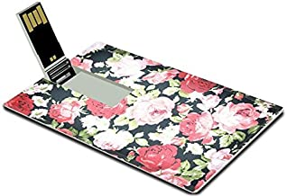 Luxlady 32GB USB Flash Drive 2.0 Memory Stick Credit Card Size Fragment of Colorful Retro Tapestry Textile Pattern with Floral Ornament Useful Image 33490873