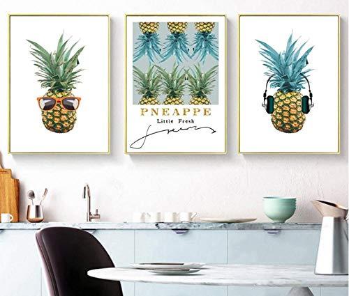 wekeke Leinwand Bilder Nordic Fresh Fruit Ananas Dekorative Gemälde Wandkunst Druck Bild Leinwand Malerei Poster Für Wohnzimmer-40X60Cmx3 Pcs Frameless